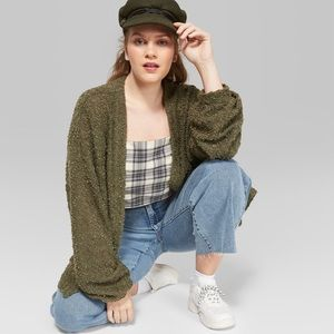 Wild Fable Green Bubble Knit Cardigan
